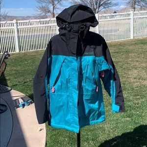 Teal Marmot Hooded Ski Jacket